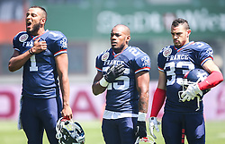 07.06.2014, Ernst Happel Stadion, Wien, AUT, American Football Europameisterschaft 2014, Spiel um Platz 3, Frankreich (FRA) vs Finnland (FIN), im Bild Boris Bede , (Team France, K, #1),  Theophile  Sasa Essele , (Team France, RB , #25) und  Sandy  Marcin , (Team France, DB , #33) // during the American Football European Championship 2014 game for place 3 between France and Finland at the Ernst Happel Stadion, Vienna, Austria on 2014/06/07. EXPA Pictures © 2014, PhotoCredit: EXPA/ Thomas Haumer