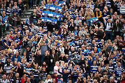 Bath rugby supporters in the crowd celebrate a try - Mandatory byline: Patrick Khachfe/JMP - 07966 386802 - 13/10/2018 - RUGBY UNION - The Recreation Ground - Bath, England - Bath Rugby v Toulouse - Heineken Champions Cup