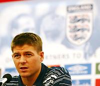 Photo: Chris Ratcliffe.<br />England Press Conference. 08/06/2006.<br />Steven Gerrard addresses the media.