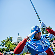 "Jim Griffin, a.k.a. ""Captain America,"" of Ft. Washington, Md., appears at a Tea Party rally on Capitol Hill on Wednesday, July 27, 2011 in Washington. (Photo by Jay Westcott/Politico)"