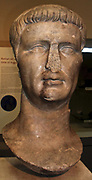 Marble head from a statue of the Roman emperor Claudius (AD 41-54), about AD 50.  From the sanctuary of Athena Polias of Priene, western Asia Minor.  One of the series of portraits of the members of the first imperial family, set up by the people of Priene.