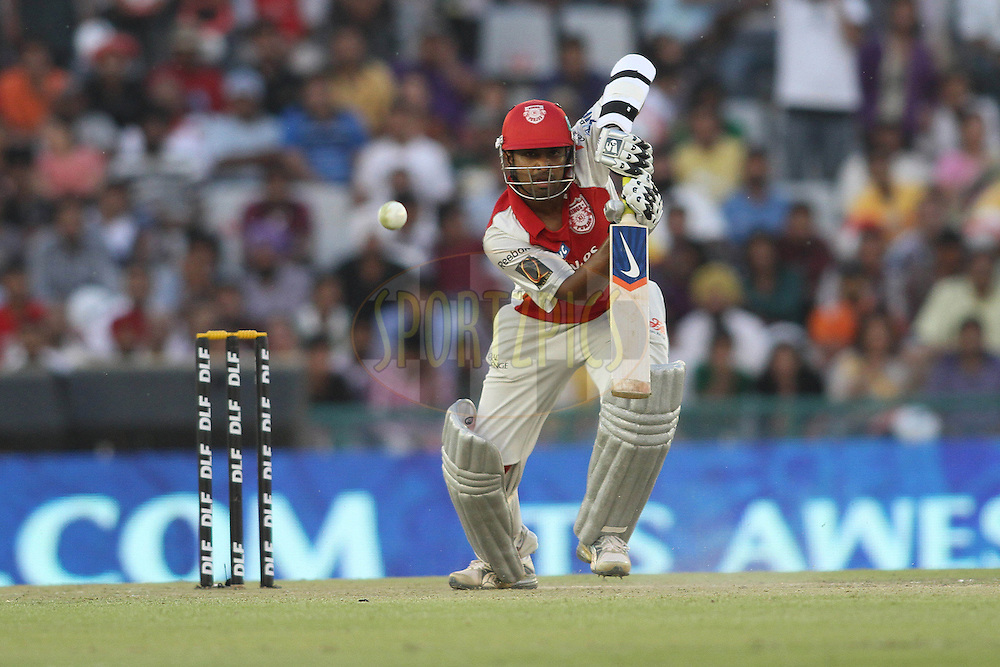 Paul Valthaty of the Kings XI Punjab plays straight during match 9 of the Indian Premier League ( IPL ) Season 4 between the Kings XI Punjab and the Chennai Super Kings held at the PCA stadium in Mohali, Chandigarh, India on the 13th April 2011..Photo by Shaun Roy/BCCI/SPORTZPICS