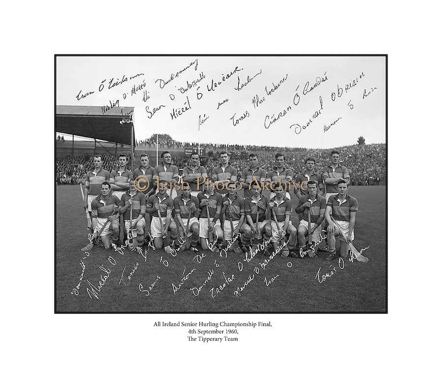 Tipperary, All Ireland Hurling Final Runners-up, 4th September 1960