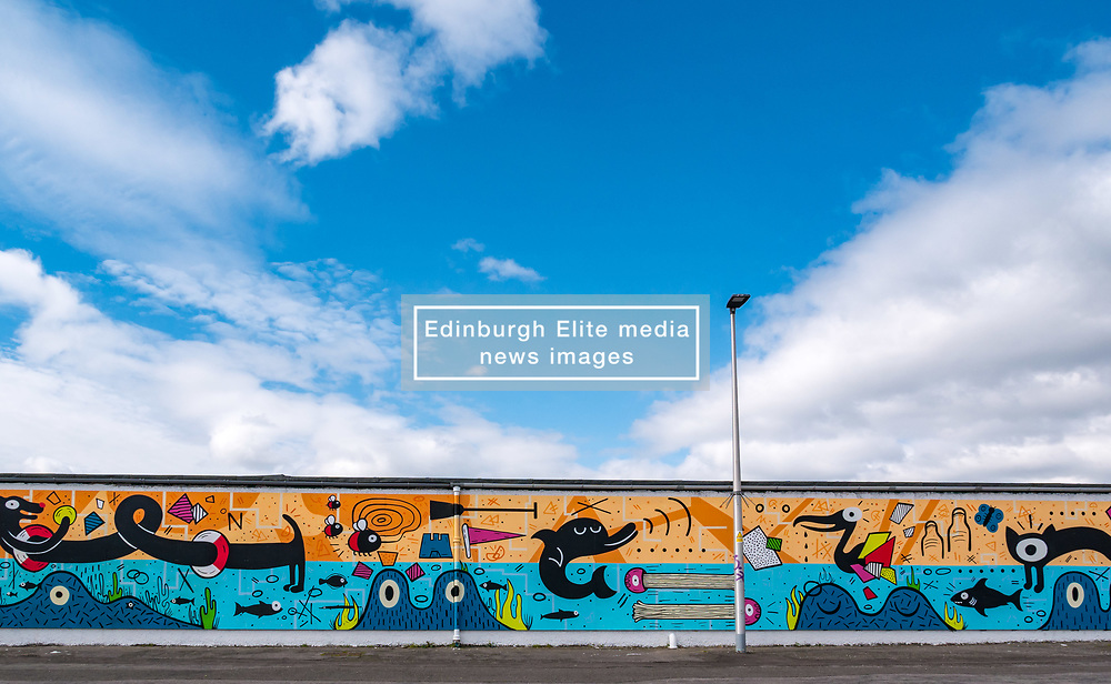 Pictured: Edinburgh Dog & Cat Home Mural Unveiling. , Edinburgh, Scotland, 03 May 2019. The 80 foot mural is unveiled today as a colourful addition to Seafield promenade. It is designed and painted by local artists Studio N_Name. It depicts the people, heritage and environment of the local community and features flora, fauna and historic elements of the local coastline. It has been made possible through through partnership with Edinburgh Shoreline Project. It is on the seafront wall of the dog & cat home which rescues, reunites and rehomes lost, stray and abandoned dogs and cats across Edinburgh and the Lothians, caring for 2,367 dogs and 771 cats in 2018.<br /> Sally Anderson   EdinburghElitemedia.co.uk