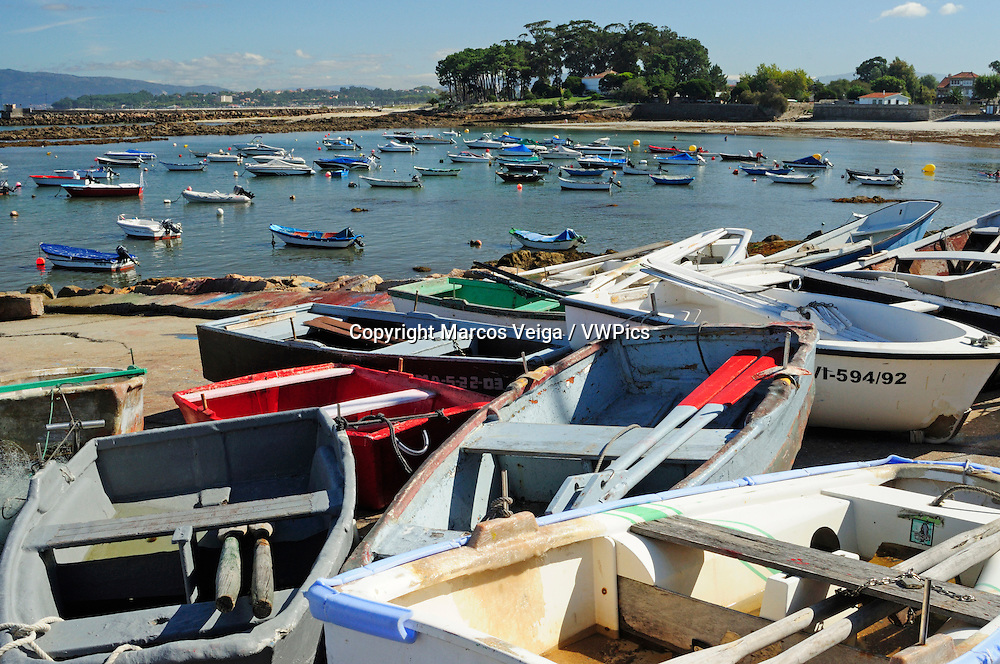 Traditional fishing boats in Coruxo. Vigo, Galicia, Spain