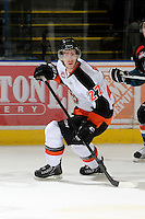 KELOWNA, CANADA, OCTOBER 11: Dylan Bredo #27 of the Medicine Hat Tigers skates on the ice as the Medicine Hat Tigers visited the Kelowna Rockets on October 11, 2011 at Prospera Place in Kelowna, British Columbia, Canada (Photo by Marissa Baecker/shootthebreeze.ca) *** Local Caption ***Dylan Bredo;
