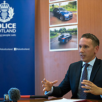 Police Scotland Re-appeal for information regarding the Gleneagles Hotel robbery on Tuesday 27th June 2017….<br />Detective Chief Inspector Andy Patrick who is leading the investigation pictured holding a hammer, the type of which was used during the robbery..Enquiries so far have established that the Audi car which was abandoned in the Auchterarder area was stolen from the Kent area in June.  The two door grey-coloured Range Rover Evoque was stolen from the London area in May.  Both vehicles were bearing cloned number plates. Police Scotland are appealing to anyone who may have information regarding the theft of these vehicles to come forward….07.07.17<br />Picture by Graeme Hart.<br />Copyright Perthshire Picture Agency<br />Tel: 01738 623350  Mobile: 07990 594431