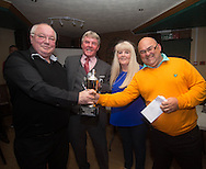 Eddie Ogg (president of the Belhaven Broughty Ferry Domino League) and Alicia Hutchison (Treasurer) present the League Doubles Cup to John Brown and Cliff Oldershaw of the Vault A -  Belhaven Broughty Ferry Domino League prizegiving at the Crown, Monifieth<br /> <br />  - &copy; David Young - www.davidyoungphoto.co.uk - email: davidyoungphoto@gmail.com