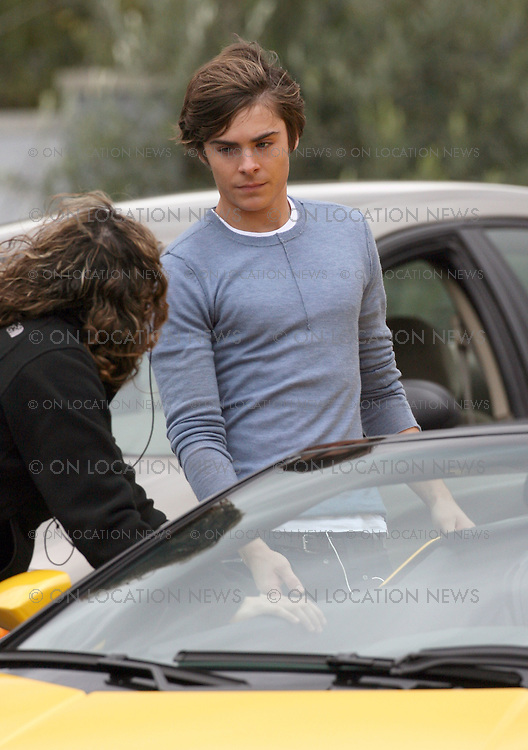 LOS ANGELES, CALIFORNIA - Wednesday 23rd January 2008. NON EXCLUSIVE: Zac Efron on the set of his latest movie '17'. Efron filmed scenes while sat as a passenger in a Lamborghini. Photograph: David Buchan/On location News. Sales: Eric Ford 1/818-613-3955 info@OnLocationNews.com..