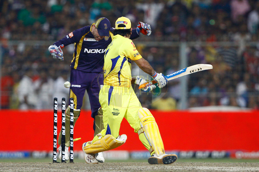 Chennai Super King captain MS Dhoni bowled during match 63 of the the Indian Premier League ( IPL) 2012  between The Kolkata Knight Riders and The Chennai Superkings held at the Eden Gardens Stadium in Kolkata on the 14th May 2012..Photo by Pankaj Nangia/IPL/SPORTZPICS