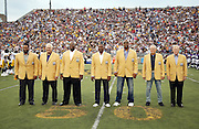 (L-R) Former Pittsburgh Steelers running back Jerome Bettis, Minnesota Vikings center Mick Tingelhoff, Kansas City Chiefs guard Will Shields, Los Angeles Raiders wide receiver Tim Brown, San Francisco 49ers and Dallas Cowboys defensive end Charles Haley, Green Bay Packers general manager Ron Wolf, and Buffalo Bills and Indianapolis Colts general manager Bill Polian are introduced as newly enshrined members of the NFL Pro Football Hall of Fame before the 2015 NFL Pro Football Hall of Fame preseason football game against the Minnesota Vikings on Sunday, Aug. 9, 2015 in Canton, Ohio. The Vikings won the game 14-3. (©Paul Anthony Spinelli)