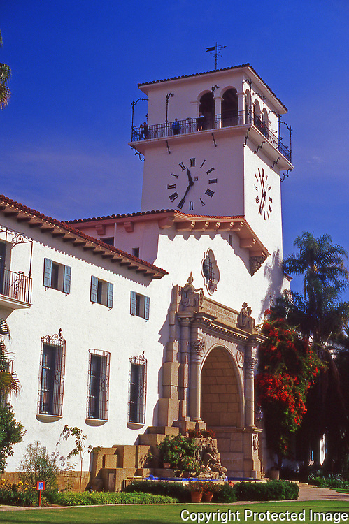 Entrance to the Santa Barbara County Courthouse in the city of Santa Barbara