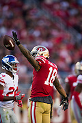 San Francisco 49ers wide receiver Louis Murphy (18) celebrates a first down against the New York Giants at Levi's Stadium in Santa Clara, Calif., on November 12, 2017. (Stan Olszewski/Special to S.F. Examiner)