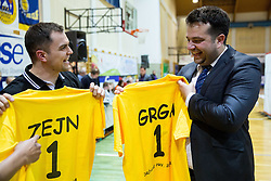 Zane Bortek and Damir Grgic celebrate after winning the basketball game between ZKK Athlete Celje and ZKK Triglav Kranj in Final of Slovenian Women National Championship 2014, on April 16, 2014 in Celje, Slovenia. Athlete Celje won 3-0 and became Slovenian Women Basketball Champion 2014. Photo by Vid Ponikvar / Sportida