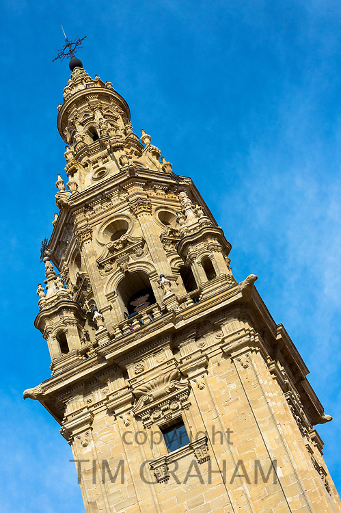 La Torre tower by the cathedral in Santo Domingo de La Calzada on the Way of St James pilgrim route Camino de Santiago in Castilla y Leon, Spain