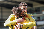 Gary Madine (Bolton Wanderers) and Filipe Morais (Bolton Wanderers) celebrate Bolton Wanderers' second goal of the game to give all three points to the visitors during the EFL Sky Bet League 1 match between Port Vale and Bolton Wanderers at Vale Park, Burslem, England on 22 April 2017. Photo by Mark P Doherty.