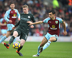 Kevin De Bruyne of Manchester City (L) and Jack Cork of Burnley in action - Mandatory by-line: Jack Phillips/JMP - 03/02/2018 - FOOTBALL - Turf Moor - Burnley, England - Burnley v Manchester City - English Premier League