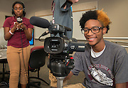 Multimedia students work on a project at Reagan High School, September 16, 2014.