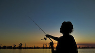 Bass fishing at Sunset on Lake Maurepas outside of New Orleans, La.