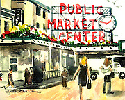 Pike Place Market, Seattle, WA. Watercolor. ©JoAnn Hawkins.