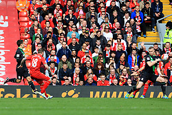 Alberto Moreno of Liverpool scores his sides first goal  - Mandatory by-line: Matt McNulty/JMP - 10/04/2016 - FOOTBALL - Anfield - Liverpool, England - Liverpool v Stoke City - Barclays Premier League