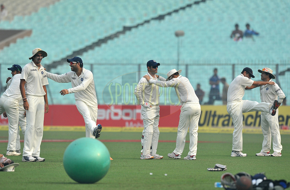 Indian team during a practice session before the start of the play on the 3rd day of the 2nd test match between India and The West Indies held at Eden Gardens in Kolkata, India on the 16th November 2011..Photo by Pal Pillai/BCCI/SPORTZPICS