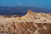 Moonset over Zabriskie Point in Death Valley National Park