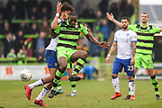 Forest Green Rovers Isaiah Osbourne(34) clears the ball during the EFL Sky Bet League 2 match between Forest Green Rovers and Mansfield Town at the New Lawn, Forest Green, United Kingdom on 24 March 2018. Picture by Shane Healey.