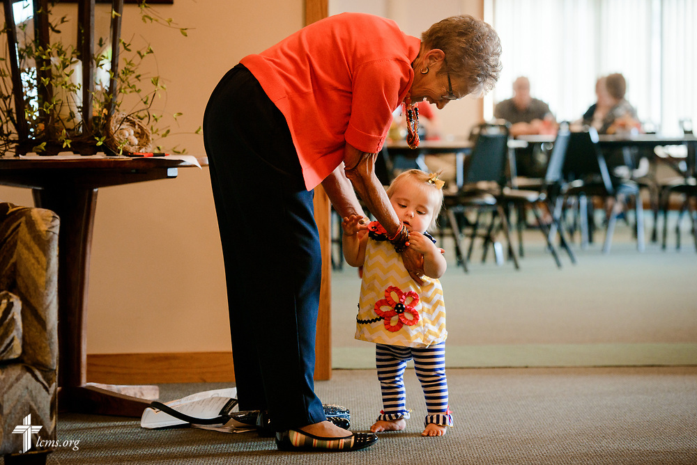Jeannine Heiden walks with Braelynn Dempcy following fellowship on Sunday, Sept. 24, 2017, at Faith Lutheran Church, York, Neb. LCMS Communications/Erik M. Lunsford