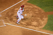 PHOENIX, ARIZONA - APRIL 27:  Paul Goldschmidt #44 of the Arizona Diamondbacks hits a solo home run during the fourth inning against the St. Louis Cardinals at Chase Field on April 27, 2016 in Phoenix, Arizona.  (Photo by Jennifer Stewart/Getty Images)