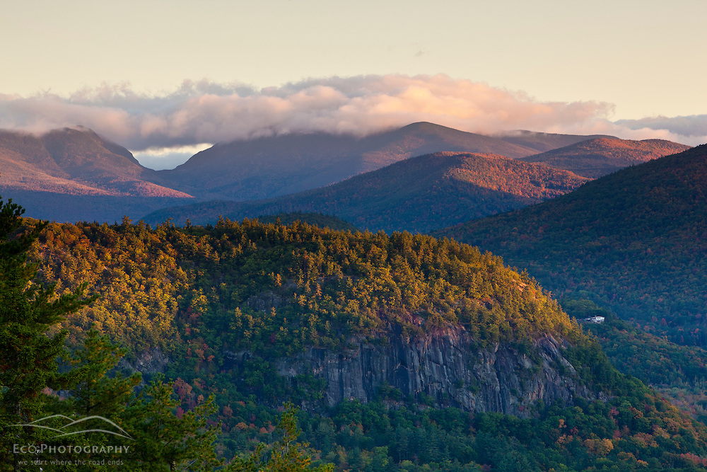 Pinkham Notch and the Mount Washington Valley as seen from Cathedral Ledge in Echo Lake State Park, North Conway, New Hampshire.