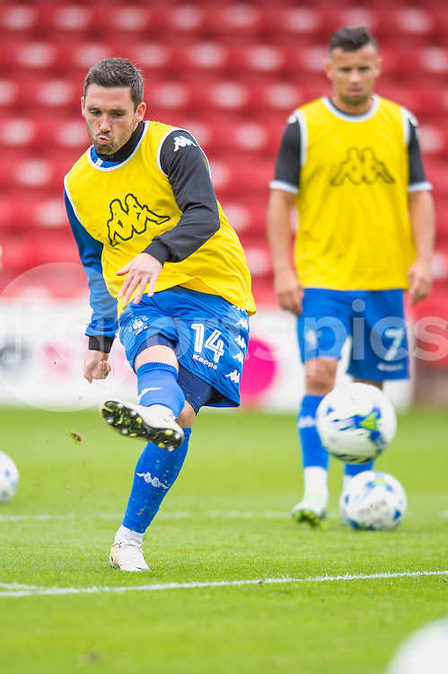Nicky Clark of Bury warms up ahead of the EFL Sky Bet League 1 match between Walsall and Bury at the Banks's Stadium, Walsall, England on 27 August 2016. Photo by Darren Musgrove.