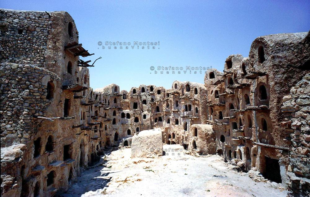 Libya     Nalut ..Berber granary with Ghorfas at Ksarr Qasr-al-Hadj Nafusah Mountains Libya