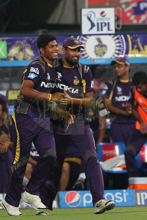 Umesh Yadav of the Kolkata Knight Riders and Yusuf Pathan celebrate the wicket of Manan Vohra during the first qualifier match (QF1) of the Pepsi Indian Premier League Season 2014 between the Kings XI Punjab and the Kolkata Knight Riders held at the Eden Gardens Cricket Stadium, Kolkata, India on the 28th May  2014<br /> <br /> Photo by Ron Gaunt / IPL / SPORTZPICS<br /> <br /> <br /> <br /> Image use subject to terms and conditions which can be found here:  http://sportzpics.photoshelter.com/gallery/Pepsi-IPL-Image-terms-and-conditions/G00004VW1IVJ.gB0/C0000TScjhBM6ikg