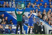 Substitution, Chelsea forward Olivier Giroud (18) on, Chelsea defender Kurt Zouma (15) (not in picture) off, during the Champions League match between Chelsea and Valencia CF at Stamford Bridge, London, England on 17 September 2019.