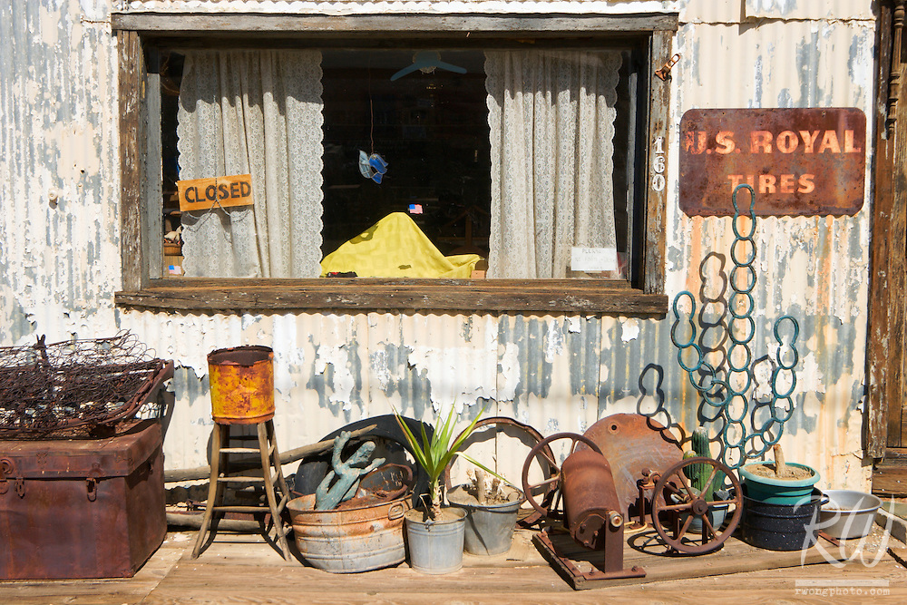 Window of Austin's Second Hand Garage Antique Shop, Randsburg, California