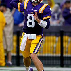 September 29, 2012; Baton Rouge, LA, USA; LSU Tigers quarterback Zach Mettenberger (8) prior to kickoff of a game against the Towson Tigers at Tiger Stadium. LSU defeated Towson 38-22. Mandatory Credit: Derick E. Hingle-US PRESSWIRE