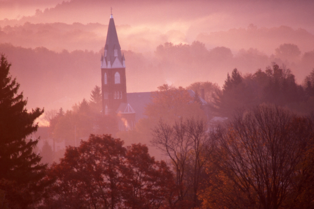 PA landscapes, mountains, sunrise mist, Brookville