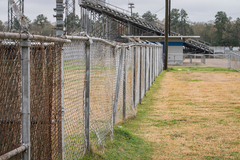 Fence line at stadium at North Forest High School, February 23, 2015.