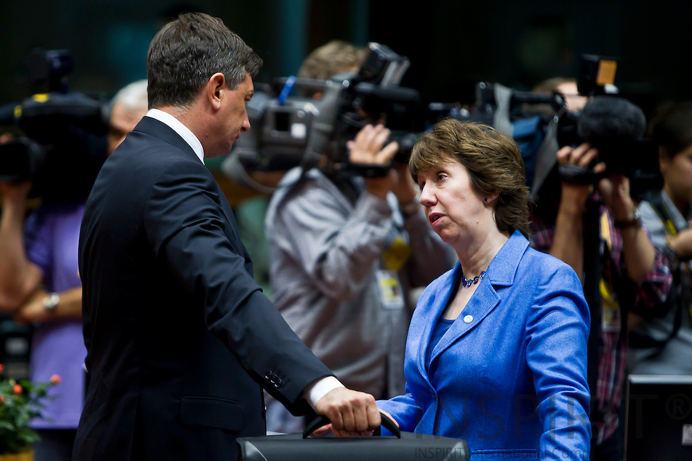 Viktor Orban, Hungarian Prime Minister and Catherine Ashton, High Representative for Foreign Affairs and Security Policy, on the second day of the EU-Summit in Brussels on Friday 24 June 2011.  PHOTO: ERIK LUNTANG / INSPIRIT Photo