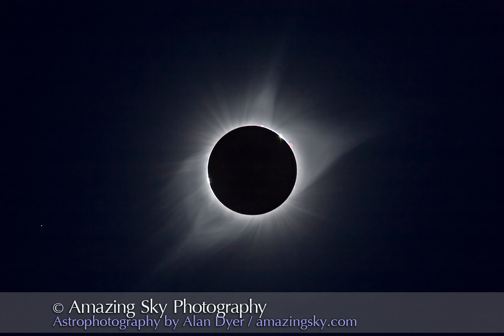 A composite of the August 21, 2017 total solar eclipse, with images from both the moments of second contact (start of totality) and third contact (end of totality) combined to show the limbs with the last and first bits of sunlight showing, plus longer exposures of the corona. So this combines images from the start and end of totality, and is not something you could actually see! <br /> <br /> So this is a but of a cheat to be sure, but it illustrates where on the limb of the Moon the sunlight disappeared then reappeared in Baily&rsquo;s Beads for me at my site in the Teton Valley of Idaho. <br /> <br /> And the locations of the Baily&rsquo;s Beads are not 180&deg; apart on the limb. Why? Because I was not right on the centreline of the path but north of the centreline, by choice, to get a location with a good scenic horizon toward the eclipsed Sun. <br /> <br /> The star at left is Regulus. <br /> <br /> This is a blend of short 1/2500 and 1/4000 second exposures for the Baily&rsquo;s Beads, and longer 1/640 and 1/100 second exposures for the corona. All were through the Astro-Physics 106m Traveler refractor at f/5 with the Canon 6D MkII.