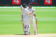 Kane Williamson of the New Zealand Black Caps celebrates his century with Ross Taylor of the New Zealand Black Caps during Day 3 on the 15th of November 2015. The New Zealand Black Caps tour of Australia, 2nd test at the WACA ground in Perth, 13 - 17th of November 2015.   Photo: Daniel Carson / www.photosport.nz