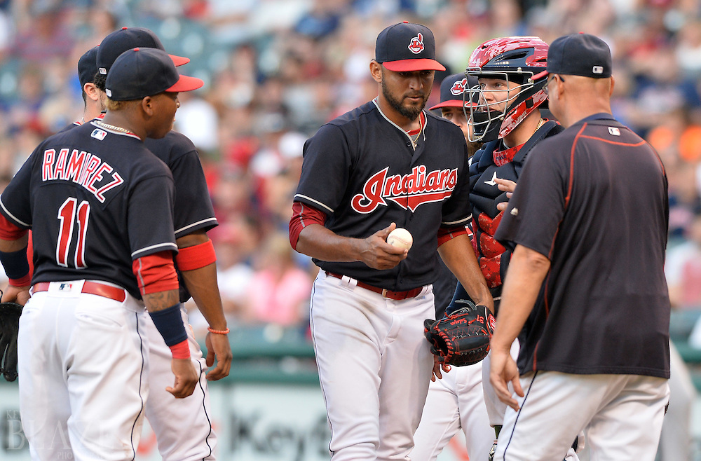 Aug 1, 2016; Cleveland, OH, USA; Cleveland Indians manager Terry Francona (17) removes Cleveland Indians starting pitcher Danny Salazar (31) from the game during the third inning against the Minnesota Twins at Progressive Field. Mandatory Credit: Ken Blaze-USA TODAY Sports