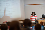 Instructor Jana Chimelli teaches statistics to College of Business students in Copeland Hall. Photo by Ben Siegel