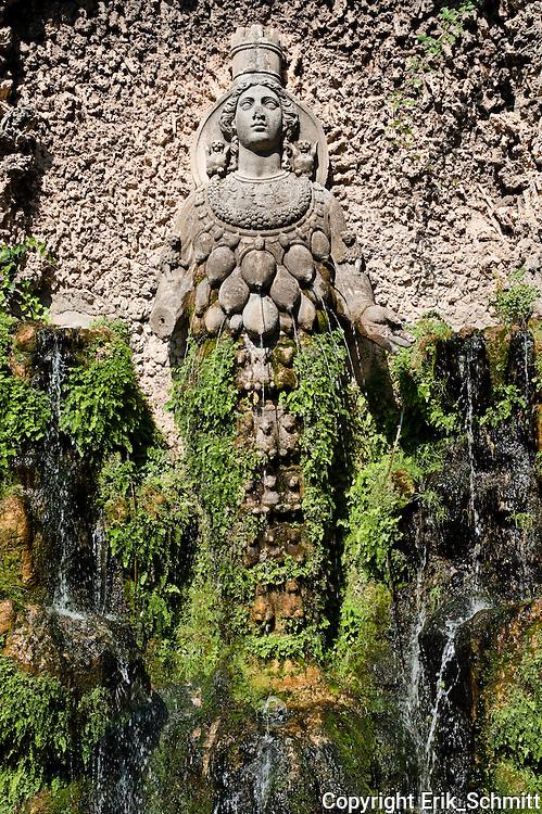 Many-breasted interpretation in a 16th-century fountain of Diana Efesina (Artemis), Villa d'Este
