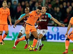 LONDON, ENGLAND - Saturday, November 4, 2017: Liverpool's Alex Oxlade-Chamberlain and West Ham United's captain Mark Noble during the FA Premier League match between West Ham United FC and Liverpool FC at the London Stadium. (Pic by David Rawcliffe/Propaganda)