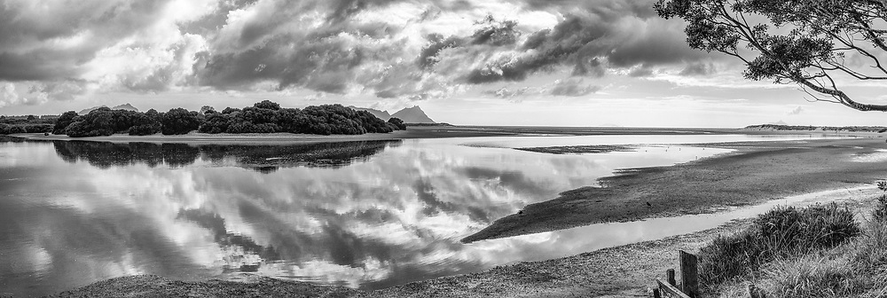 Ruakaka Estuary - Whangarei<br /> <br /> limited edition fine black and white art print, also available in colour. <br /> <br /> Print  $165<br /> Framed $445<br /> Canvas $225<br /> <br /> Image size L:900mm x H:300mm. <br /> <br /> Larger print size are available easily to 1.5 metres in length!<br /> <br /> To order direct, contact Alan through the contact tab above or at info@alansquires.co.nz<br /> <br /> Available to view and purchase from my studio gallery or The Bach, town basin - Whangarei.