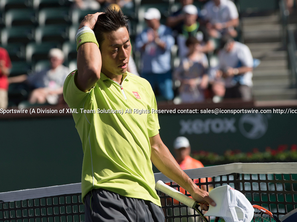 March 16, 2015<br /> Kei Nishikori of Japan, after defeating Fernando Verdasco of Spain at the BNP Paribas Open, Indian Wells Tennis Garden, Indian Wells CA