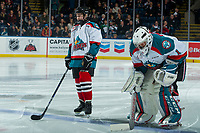 KELOWNA, CANADA - FEBRUARY 12:  The Pepsi Save On Foods player of the game lines up alongside James Porter #1 of the Kelowna Rockets against the Victoria Royals on February 12, 2018 at Prospera Place in Kelowna, British Columbia, Canada.  (Photo by Marissa Baecker/Shoot the Breeze)  *** Local Caption ***