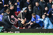 Andy Carroll of West Ham United ends up in the crowd after he thought he scored during the FA Cup match at the Boleyn Ground, London<br /> Picture by David Horn/Focus Images Ltd +44 7545 970036<br /> 13/01/2015